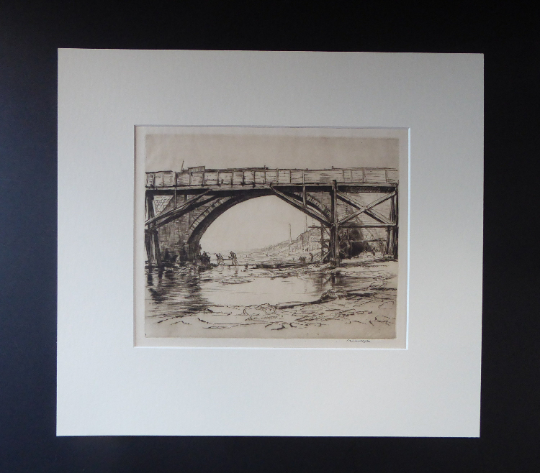 SCOTTISH ART. Sir Muirhead Bone (1876 - 1953). Repairing the Auld Brig at Ayr (No.1). Pencil signed etching. Dated 1909