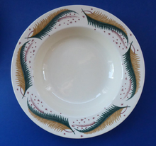 Load image into Gallery viewer, 1950s Vintage Susie Cooper Pottery BRACKEN PATTERN Shallow Soup Bowls. KESTREL shape. 9 inches