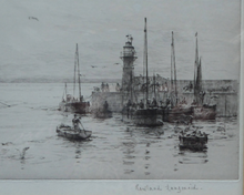 Load image into Gallery viewer, ORIGINAL ETCHING Rowland Langmaid (1897-1956) Newlyn & St Michael's Mount, Cornwall. Pencil signed