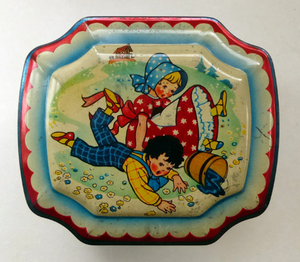 Very Sweet Vintage 1950s HORNER Nursery Tin. Jack and Jill on lid - and various other characters around the sides
