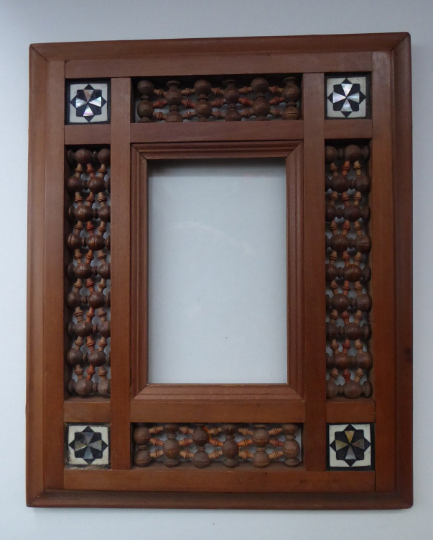 Antique Wooden Syrian / Middle Eastern Picture Frames or Mirror Frame with Turned Mashrabiya Panels and Inlays