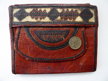 Load image into Gallery viewer, Vintage Purse or Little Clutch Bag. 1930s Art Deco Egyptian Tooled Leather Wallet