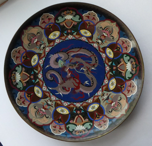 Antique Cloisonne Charger. Late 19th Century Large Size, over 14 inches: Decorated with a Swirling Dragon and Intricate Decorative Border