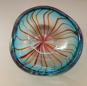 Unusual Chunky Blue Glass Bowl with Flat Polished Pontil Base - with Red Stripes from the Centre. Probably Italian, Murano