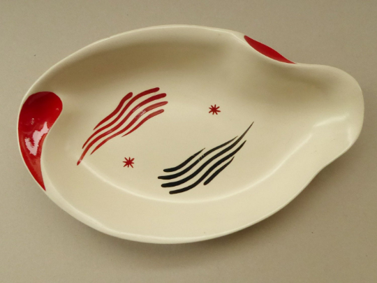 LARGE 1950s Burleigh Ware Dish with Atomic Abstract Decoration