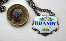 Load image into Gallery viewer, VINTAGE Silver and Enamel BRANDY Decanter or Bottle Label Birmingham Hallmarked 1957