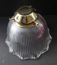 Load image into Gallery viewer, ANTIQUE Edwardian HOLOPHANE Ribbed Glass Lamp Shade. Patent Number for 1909. Brass Hanging Fitment