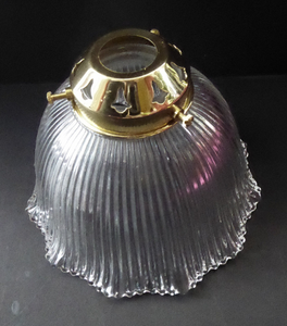 ANTIQUE Edwardian HOLOPHANE Ribbed Glass Lamp Shade. Patent Number for 1909. Brass Hanging Fitment