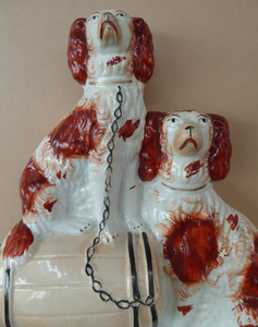 Antique Staffordshire King Charles Spaniel Dogs Sitting on Top of a Barrel. Genuine Victorian Figurine