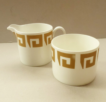 Load image into Gallery viewer, 1970s Susie Cooper (Wedgwood) OLD GOLD KEYSTONE bone china milk and sugar bowl