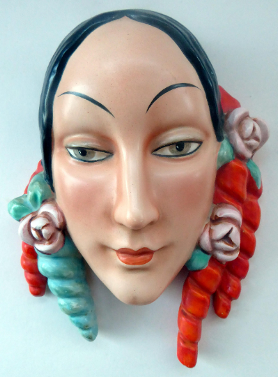 Rare 1930s GOEBEL Pottery Wall Mask. Art Deco Spanish Lady with Fabulous Floral Hair Decorations. LARGER size. 7 inches