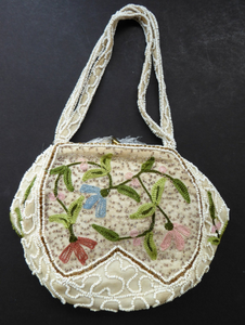 Delicate Vintage 1940s / 1950s Beaded Evening Bag; BELGIAN. Embellished with glass beads, and Embroidered Flowers
