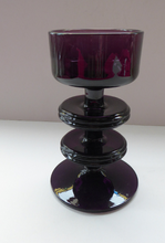 Load image into Gallery viewer, Stylish 1970s SHERINGHAM WEDGWOOD GLASS Purple Candlestick by Stennett-Wilson. 5 inches High