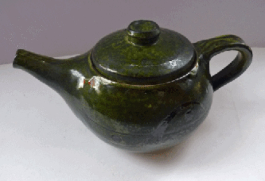 Vintage STUDIO POTTERY Stoneware Teapot. Attractive and Sturdy Pot with Japanese Inspired Decorations