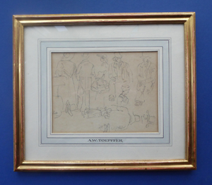 Museum Quality Pencil Sketch: Wolfgang Adam TOEPFFER (1766 - 1847) Switzerland. Sheet of Figure Studies