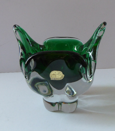 HOSPODKA STYLE; Made in Czechoslovakia Label. Fine Chunky 1960s Green and Yellow Cased Glass Bowl