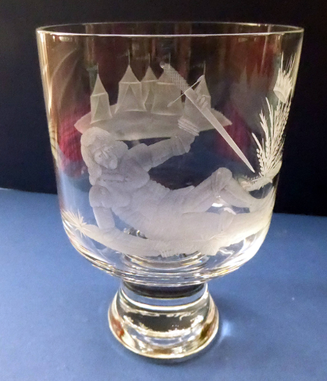 Engraved Vintage Caithness SCOTTISH GLASS Rummer / Goblet by Colin Terris (1937 - 2007). Jousting Scene, Fallen Knight