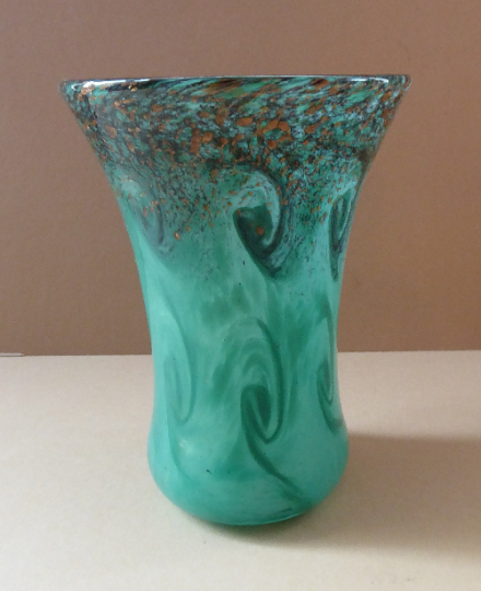 PERTHSHIRE PAPERWEIGHTS 1980s Art Glass Vase. Green Vase with Green and Black Swirls and Gold Aventurine Spinkles. 6 1/2 inches