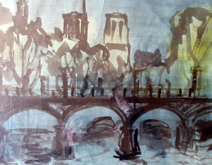 SCOTTISH ART. Sax Shaw (1916 - 2000). Watercolour of the Pont Neuf, Paris. Signed and dated 1950. Exhibited 1983