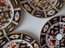 Load image into Gallery viewer, ROYAL CROWN DERBY Imari Pattern 2451. Four vintage side plates or tea plates. Diameter 6 1/4 inches