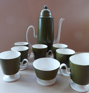 COMPLETE SET: Carlton Ware 1960s Matt Olive Green & White Coffee Set in OSLO Shape; Coffee Pot; Milk Jug, Sugar Bowl, Six Cups and Saucers