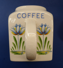 Load image into Gallery viewer, 1950s BRISTOL POTTERY Kitchen Canister or Storage Jar. Vintage Old Delft Tulip Design with Carrying Handle. COFFEE
