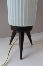 Load image into Gallery viewer, Vintage 1950s Scandinavian Style Table Lamp with Rosewood Tripod Feet and Tall Fluted White Glass Shade