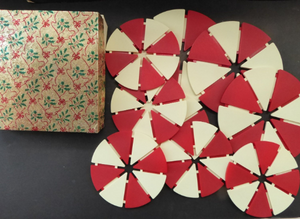 Rare and Unusual 1960s Red and White Plastic Place Mats and Coasters In Christmas Box