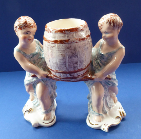 Antique WEDGWOOD & Co., LTD Figurine. Two Children Carrying a Barrel. Unicorn Mark