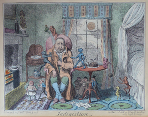 Original GEORGIAN Satirical Print by George Cruikshank (1782 - 1878). Hand-coloured etching entitled Indigestion and dated 1825
