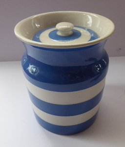 Vintage Cornishware TG Green Storage Jar: Mid Century. Larger Size. 6 3/4 inches height