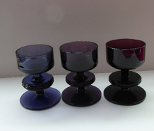 Load image into Gallery viewer, Stylish 1970s SHERINGHAM WEDGWOOD GLASS Set of Three Purple Candlesticks by Stennett-Wilson. 3 1/2 inches High