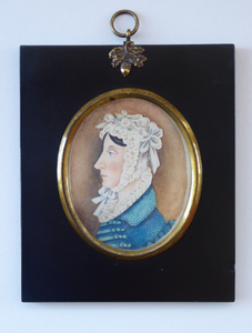 ANTIQUE Portrait Miniature of a Lady in a Cap. Watercolour Study in Antique Black Wooden Frame with Acorn Hanging Ring; c 1830s
