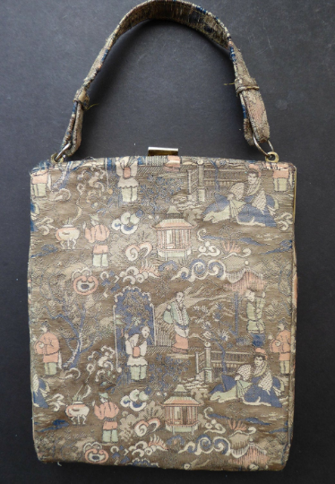Unusual Vintage Fold Out Concertina Hand Bag - with Silver Exterior Decorated with Little Chinese Figures; 1940s