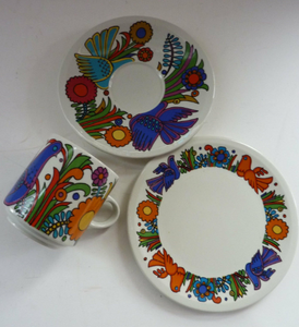 ACAPULCO Breakfast Set: TRIO. Coffee Cup, Saucer and Side Plate