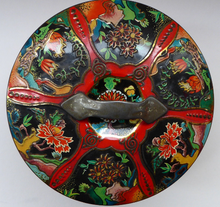 Load image into Gallery viewer, Large Circular VINTAGE Gray Dunn Biscuit Tin, with Japanese / Art Nouveau Decorations. Aesthetic Movement Colours