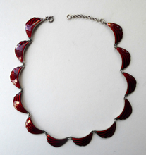 Load image into Gallery viewer, 1950s NORWEGIAN Guilloche Enamel and Silver Necklace by Elvik & Co. with 12 Red Shell Shaped Links