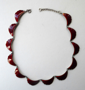 1950s NORWEGIAN Guilloche Enamel and Silver Necklace by Elvik & Co. with 12 Red Shell Shaped Links