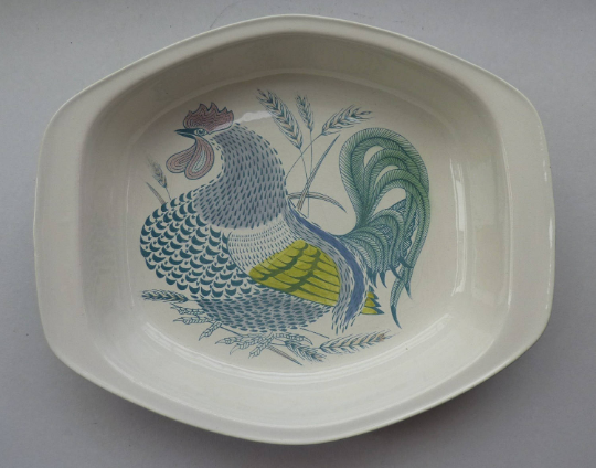 LARGE 1960s Poole Pottery Serving Dish ROOSTER. Designed by Robert Jefferson