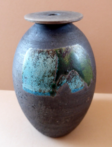 STUDIO POTTERY. Vintage 1960s Vase. Matt Black Lava Glaze & Blue and Green Lustre Squares: GS Mark