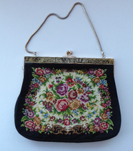 Load image into Gallery viewer, Vintage 1940s PETIT POINT Tapestry Handbag or Evening Bag. Unusual EGYPTIAN Motif on the Frame. Excellent Condition