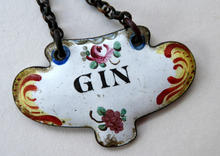 Load image into Gallery viewer, ANTIQUE Enamel GIN Decanter or Bottle Label. 19th Century, probably Bilston or Samson, Paris