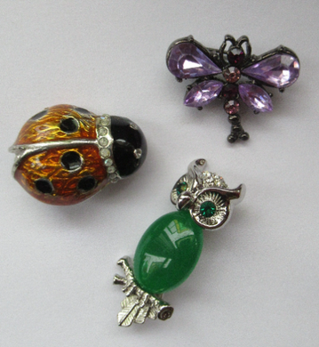 Dragonfly, Owl and Ladybird Vintage Brooches