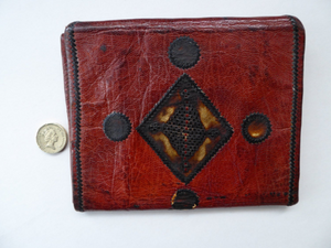 Vintage Purse or Little Clutch Bag. 1930s Art Deco Egyptian Tooled Leather Wallet