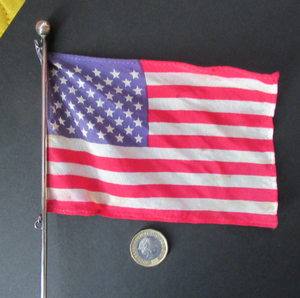 Vintage Leonore Doskow Hand Made Silver Flag Pole for a Desk