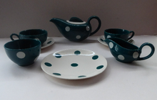 Load image into Gallery viewer, Rare 1950 J&G MEAKIN STUDIO WARE Tea for Two Set with Polka Dots. Designed by Frank Trigger