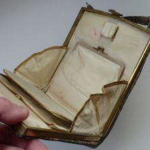 Load image into Gallery viewer, Unusual Vintage Fold Out Concertina Hand Bag - with Silver Exterior Decorated with Little Chinese Figures; 1940s