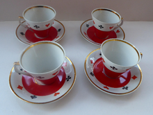 Load image into Gallery viewer, Four Polish CHODZIEZ Mid-Century Porcelain Tea Cups and Saucers. Playing Cards Design for BRIDGE