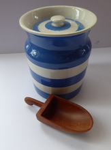 Load image into Gallery viewer, Vintage Cornishware TG Green Storage Jar: Mid Century. Larger Size. 6 3/4 inches height