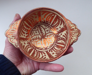 Old HISPANO-MORESQUE Copper Lustre Bowl with Lug Handles